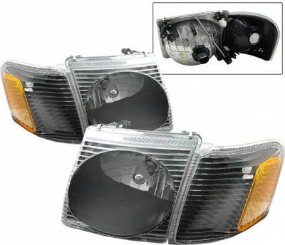 4 Car Option - Ford Explorer 4 Car Option Sport Headlights - Black Clear - LH-FEPS01BC-KS