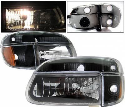 4 Car Option - Ford Explorer 4 Car Option Crystal Diamond Headlights - Black - LH-FEXPR95B-KS-A