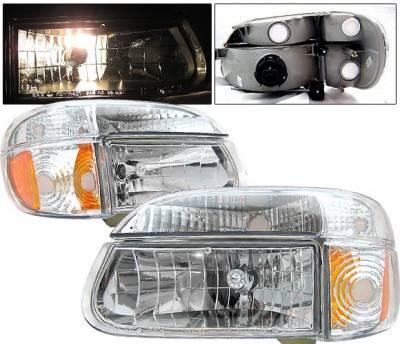 4 Car Option - Ford Explorer 4 Car Option Crystal Diamond Headlights - Chrome - LH-FEXPR95C-KS-A