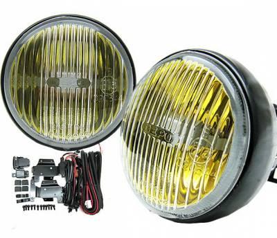 4 Car Option - Honda Civic 2DR 4 Car Option Round Fog Light Kit - Yellow - LHF-HC962YL