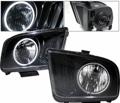 4 Car Option - Ford Mustang 4 Car Option Halo Headlights - Black - LH-FM05BR-KS