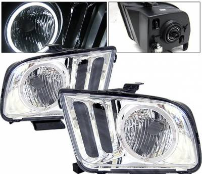 4 Car Option - Ford Mustang 4 Car Option Halo Headlights - Chrome - LH-FM05CR-KS