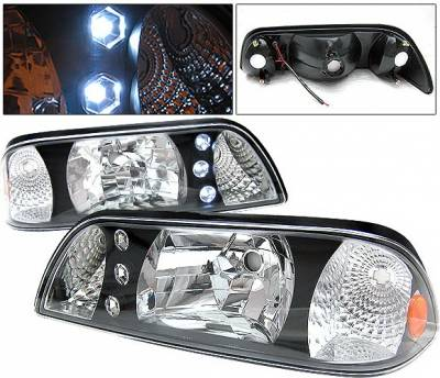 4 Car Option - Ford Mustang 4 Car Option LED Headlights - Black - 1PC - LH-FM87B-1-A