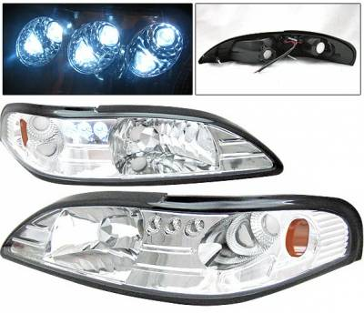 4 Car Option - Ford Mustang 4 Car Option Headlights - Chrome - 1PC - LH-FM94C-1-A