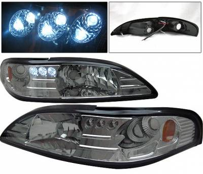 4 Car Option - Ford Mustang 4 Car Option Headlights - Smoke - 1PC - LH-FM94SM-1-A