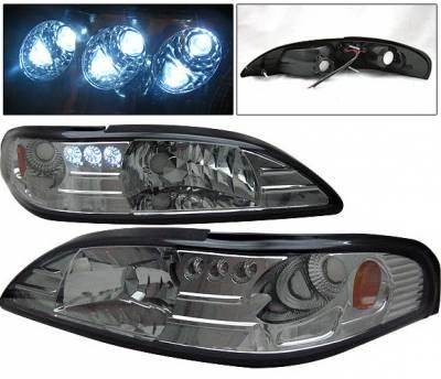 4 Car Option - Ford Mustang 4 Car Option Headlights - Smoke - 1PC - LH-FM94SM-1-A