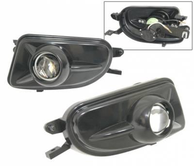 4 Car Option - Mercedes CLK W208 1998-2002, Custom Black Projector Fog Lights Kit. - LHF-MBZ98CLKJB