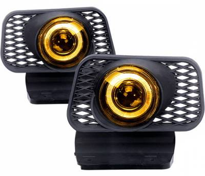4 Car Option - Chevrolet Avalanche 4 Car Option Halo Projector Fog Light Kit - Yellow - LHFP-CSV03YL-WJ