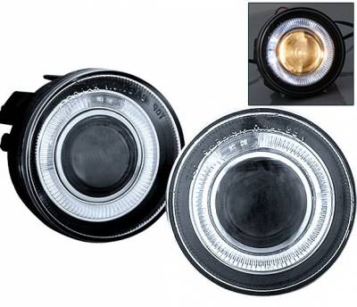 4 Car Option - Dodge Dakota 4 Car Option Halo Projector Fog Light Kit - Clear - LHFP-DD01C-WJ
