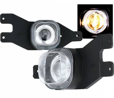 4 Car Option - Ford F250 4 Car Option Halo Projector Fog Light Kit - Clear - LHFP-FF25099C-WJ