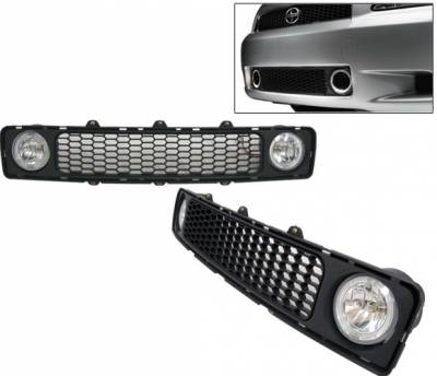 4 Car Option - Scion tC 4 Car Option Grille with Fog Light Kit - Clear Halo - LHF-TS003