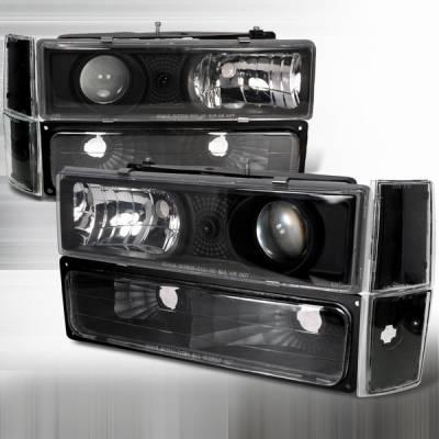 Custom Disco - Chevrolet C10 Custom Disco Black Projector Lights - LBCLHP-C1088JM