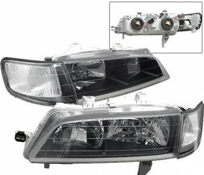 4 Car Option - Honda Accord 4 Car Option JDM Headlights - Black - LH-HA94B-DP