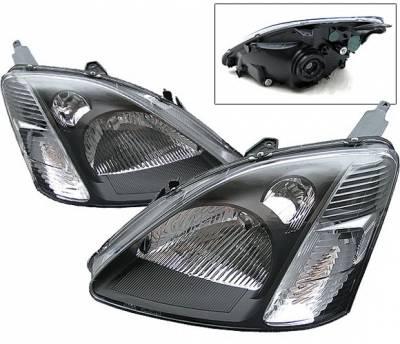 4 Car Option - Honda Civic 4 Car Option Headlights - Smoke - LH-HC02SIB-DP