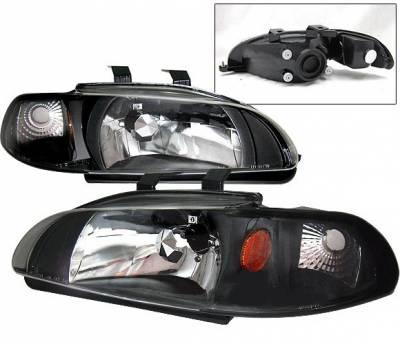 4 Car Option - Honda Civic 2DR 4 Car Option Headlights - Black - 1PC - LH-HC923B-1-A