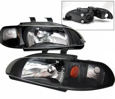 4 Car Option - Honda Civic 4DR 4 Car Option Headlights - Black - 1PC - LH-HC924B-1