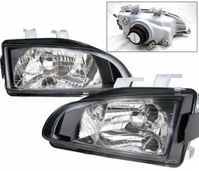 4 Car Option - Honda Civic 4 Car Option Headlights - Black - LH-HC92B