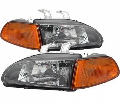 4CarOption - Honda Civic 2DR 4CarOption Headlights - LH-HC92BA-DP