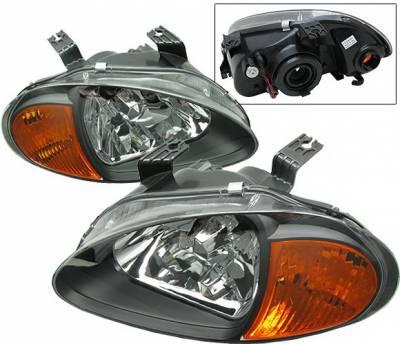 4 Car Option - Honda Del Sol 4 Car Option Headlights - Black - 1PC - LH-HD93B-6