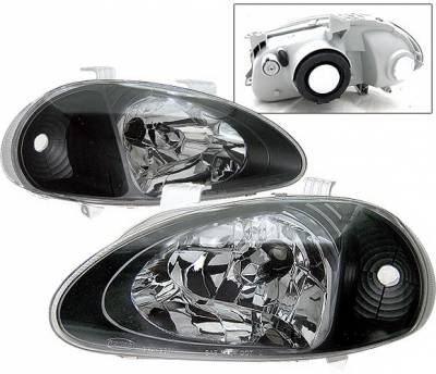 4 Car Option - Honda Del Sol 4 Car Option Headlights - Black - 1PC - LH-HD93B-9