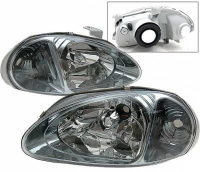 4 Car Option - Honda Del Sol 4 Car Option Headlights - Smoke - 1PC - LH-HD93SM-9