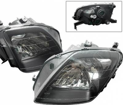 4 Car Option - Honda Prelude 4 Car Option Headlights - Black - 1PC - LH-HP97B-DP