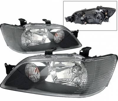 4 Car Option - Mitsubishi Lancer 4 Car Option Headlights - Black - LH-ML02B-KS