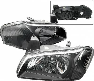 4 Car Option - Nissan Maxima 4 Car Option Headlights - Black Clear - LH-NM00BC-KS