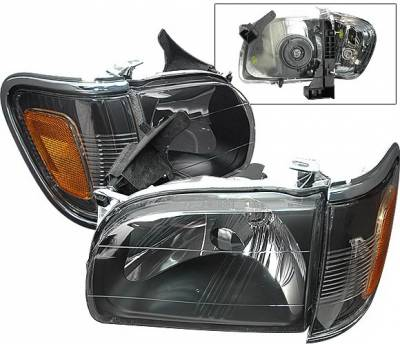 4 Car Option - Toyota Tacoma 4 Car Option Headlights - Black with Amber Reflector - LH-TTA01BC-KS