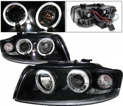 4 Car Option - Audi A4 4 Car Option LED Halo Projector Headlights - Black - 1PC - LP-AA401BB-YD