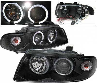 4 Car Option - Audi A4 4 Car Option LED Halo Projector Headlights - Black - 1PC - LP-AA495BB-YD