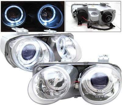 4 Car Option - Acura Integra 4 Car Option Dual Halo Projector Headlights - Chrome - LP-AI94CB-KS