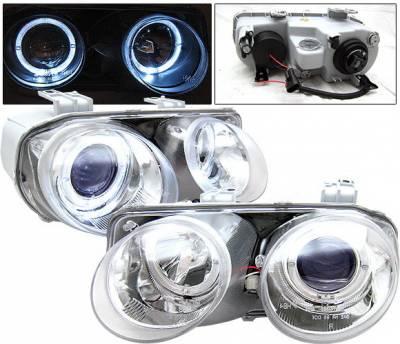 4 Car Option - Acura Integra 4 Car Option Dual Halo Projector Headlights - Chrome - LP-AI98CB-YD