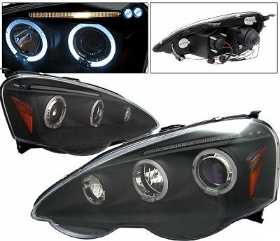 4 Car Option - Acura RSX 4 Car Option LED Halo Projector Headlights - Black - LP-AR02BB-5