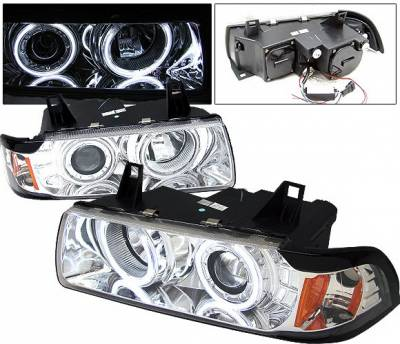 4 Car Option - BMW 3 Series 4 Car Option Dual Halo Projector Headlights - Chrome CCFL - 1PC - LP-BE362CF-KS
