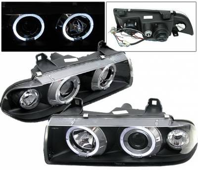 4 Car Option - BMW 3 Series 4 Car Option Dual Halo Projector Headlights - Black - LP-BE36BC-5