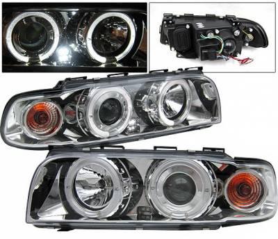 4 Car Option - BMW 7 Series 4 Car Option Halo Projector Headlights - Chrome - LP-BE38CC-YD