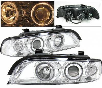 4 Car Option - BMW 5 Series 4 Car Option Dual Halo Projector Headlights - Chrome - LP-BE39CC-9