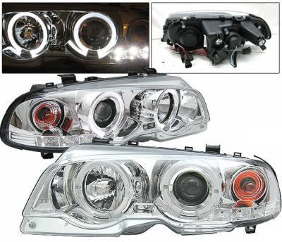 4 Car Option - BMW 3 Series 2DR 4 Car Option Dual Halo Projector Headlights - Chrome - LP-BE462CC-YD