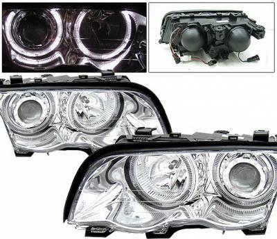 4 Car Option - BMW 3 Series 2DR 4 Car Option Dual Halo Projector Headlights - Chrome - LP-BE46499CCR-KS