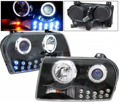 4 Car Option - Chrysler 300 4 Car Option LED Halo Projector Headlights - Black CCFL - LP-C300B-KS-CCFL
