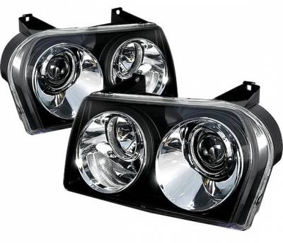 4 Car Option - Chrysler 300 4 Car Option Diamond Projector Headlights - Black - LP-C300C05B