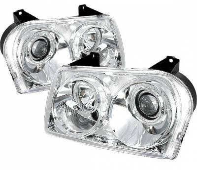 4 Car Option - Chrysler 300 4 Car Option Diamond Projector Headlights - Chrome - LP-C300C05C