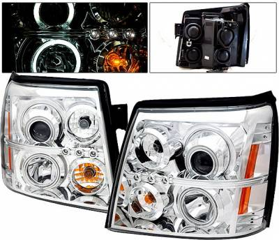 4 Car Option - Cadillac Escalade 4 Car Option Halo Projector Headlights - Chrome CCFL - LP-CAE02CF-KS