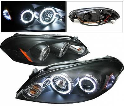 4 Car Option - Chevrolet Impala 4 Car Option CCFL LED Halo Projector Headlights - Black - LP-CIM06BF-KS