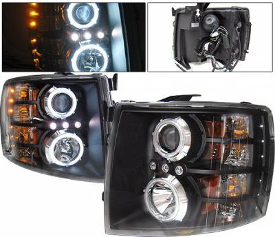 4 Car Option - Chevrolet Silverado 4 Car Option LED Halo Projector Headlights - Black CCFL - LP-CSV07BB-KS