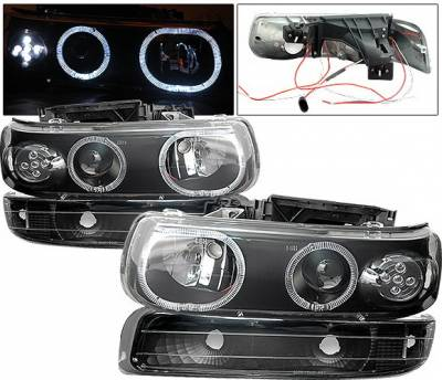 4 Car Option - Chevrolet Silverado 4 Car Option LED Halo Projector Headlights - LP-CSV99BC-6