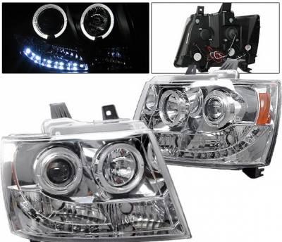 4 Car Option - Chevrolet Tahoe 4 Car Option LED Halo Projector Headlights - Chrome - LP-CTA07CC-YD