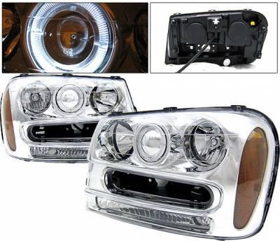 4 Car Option - Chevrolet Trail Blazer 4 Car Option Halo Projector Headlights - Chrome - LP-CTB02CC-KS