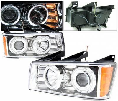 4 Car Option - Chevrolet Colorado 4 Car Option Halo Projector Headlights - Chrome CCFL - LP-CVCO04CC-KS-CCFL